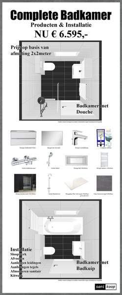 Complete badkamer met douche incl installatie eu 6595 for Complete badkamer aanbieding