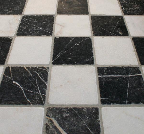 Keuken vloer en wandtegels zwart wit marmer 15x15 cm marktgigant - Keuken zwarte tegels en witte ...