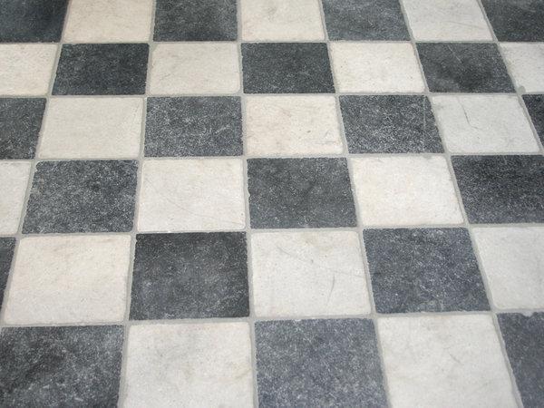 Turks marmer zwart  wit vloertegels 30x30x1 cm verouderd   Marktgigant