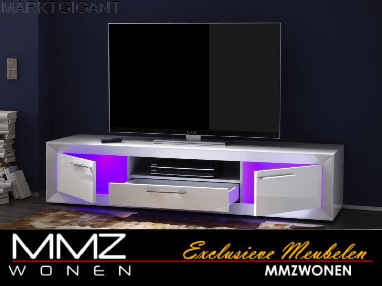 Witte Hoogglans Tv-meubel met verlichting - Marktgigant